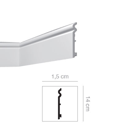 BATTISCOPA POL 14 X 1,5cm MT2 BIANCO VERNICIABILE NEW STYL