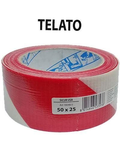 NASTRO SEGNAL.TELATO ADESIVO MM50X25 BIANCO/ROSSO